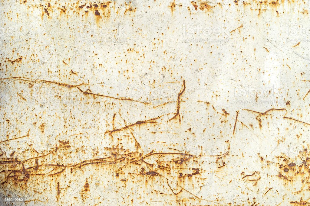 Old rusty white metal background. stock photo