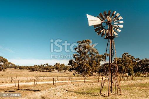 Old rusty windmill near Barossa valley in South Australia