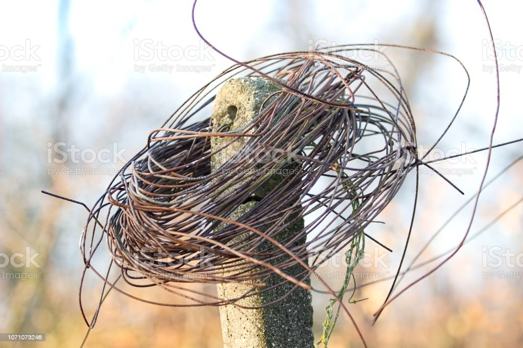 old rusty wire in vineyard stock photo