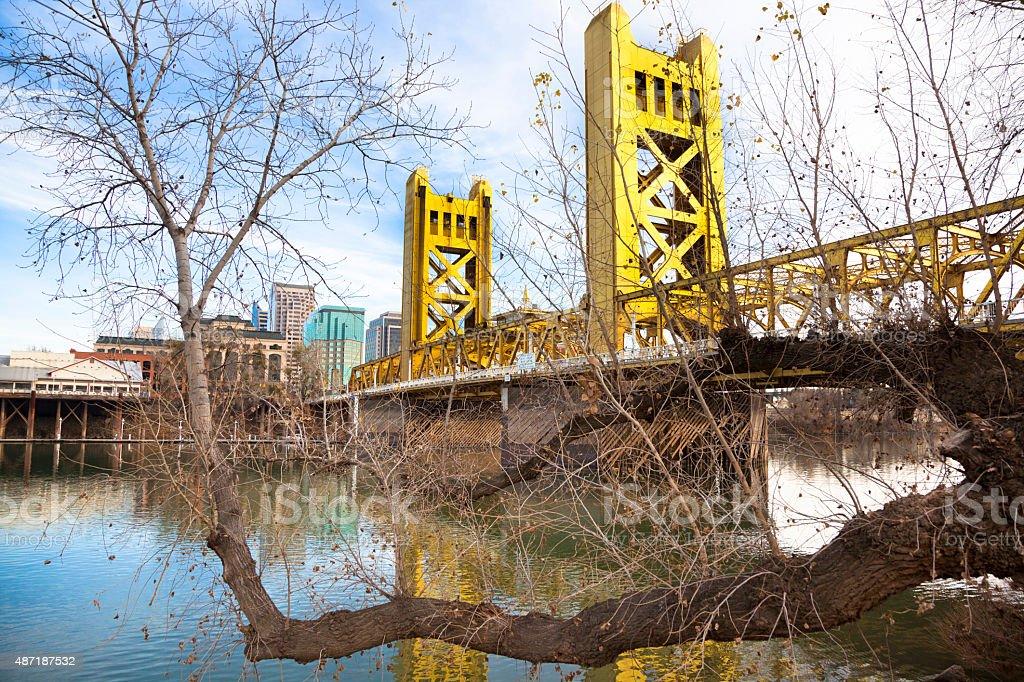 Old Sacramento and Drawbridge stock photo