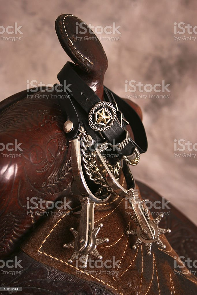 Old Saddle with spurs stock photo