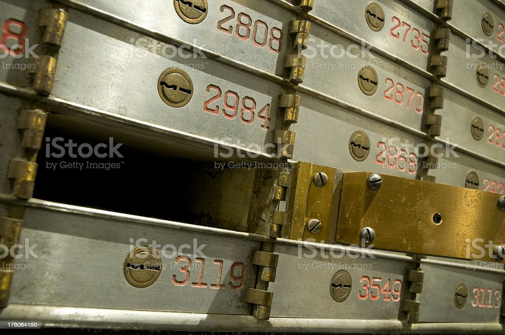 Old safety deposit boxes royalty-free stock photo