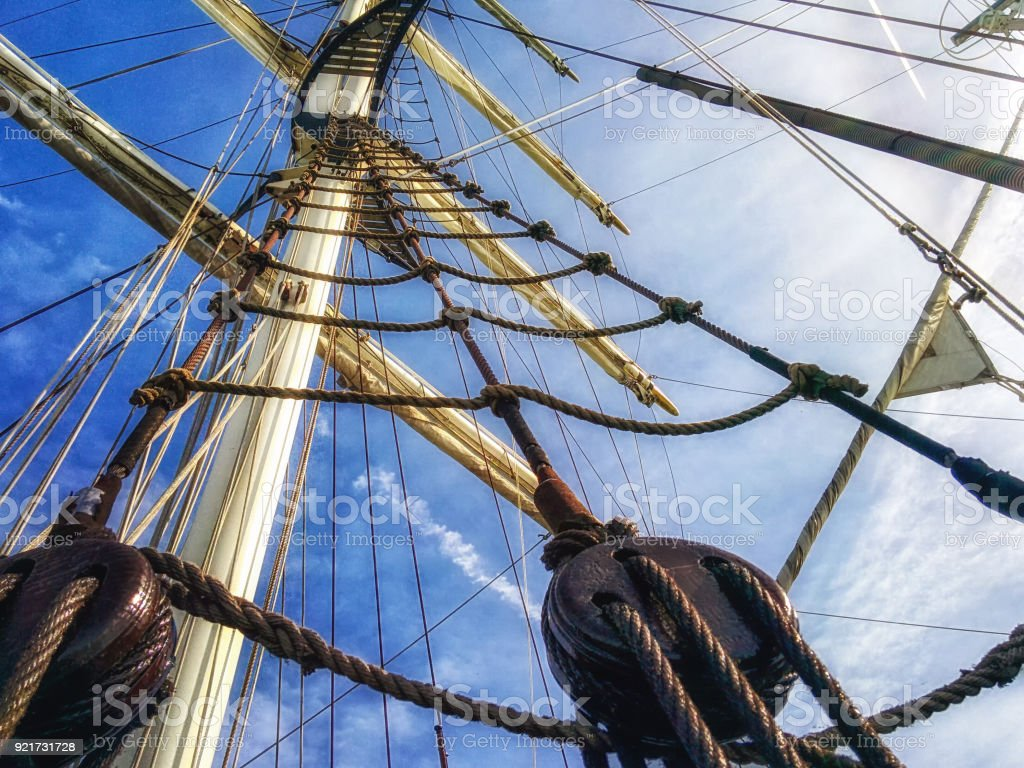 Old Sailboat Detail stock photo