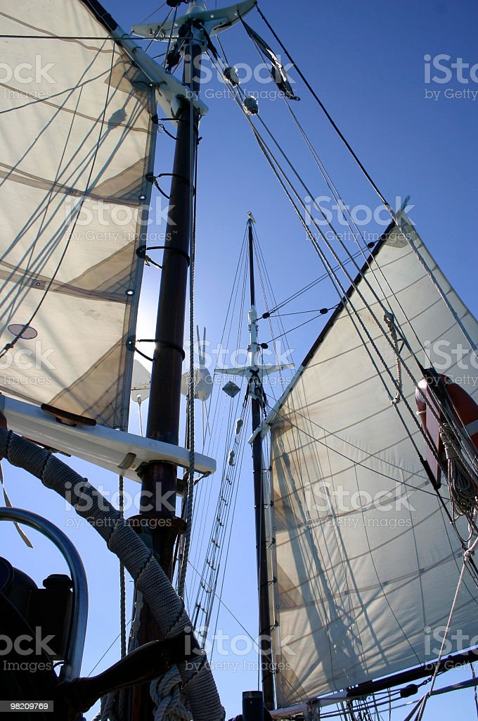 old sailboat with two sails royalty-free stock photo