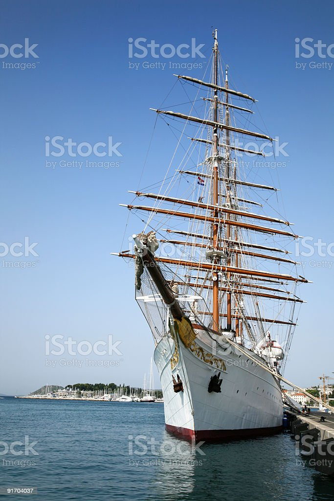 Old sailing boat in Split harbor royalty-free stock photo