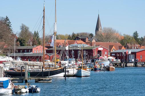 Old sailing boat in the harbour of Eckernförde