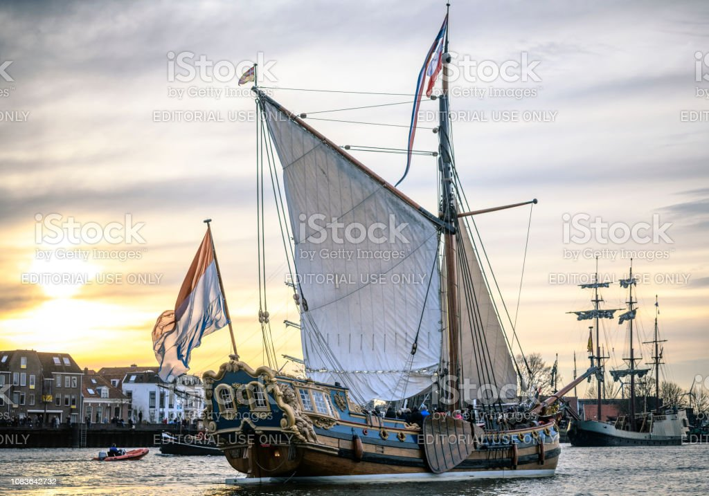 Old sailing ship at the river IJssel during the 2018 Sail Kampen event stock photo