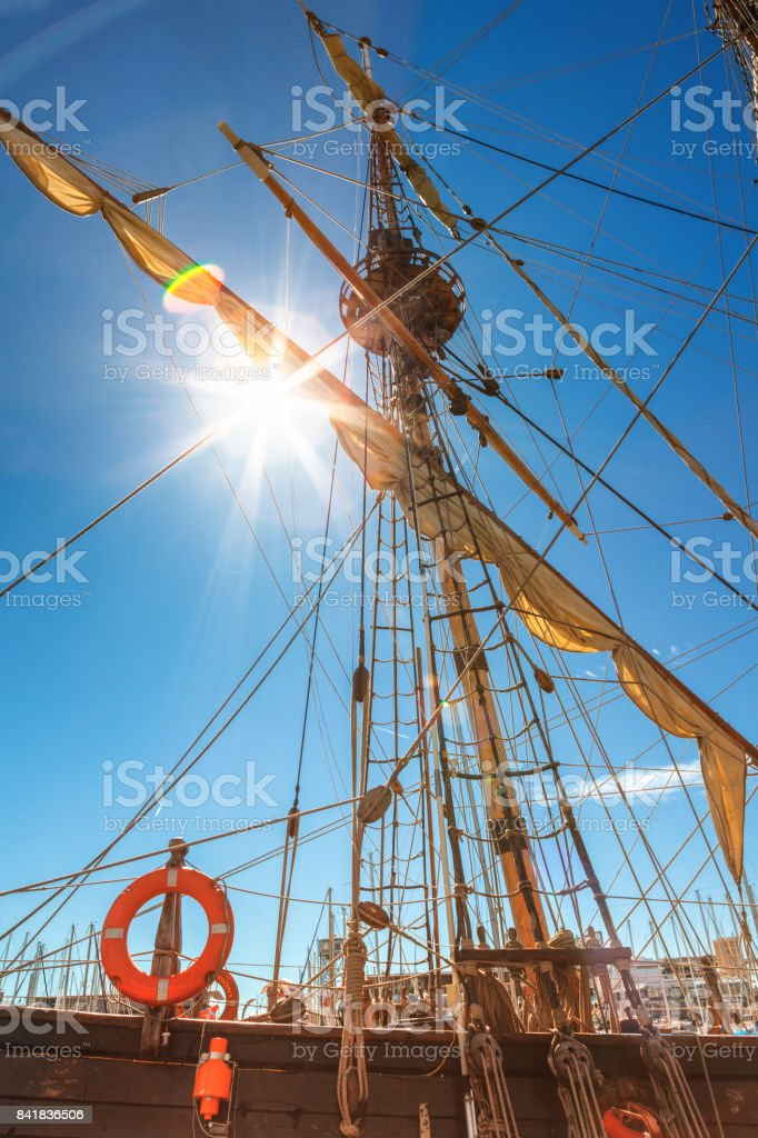 Old sailing ship mast stock photo