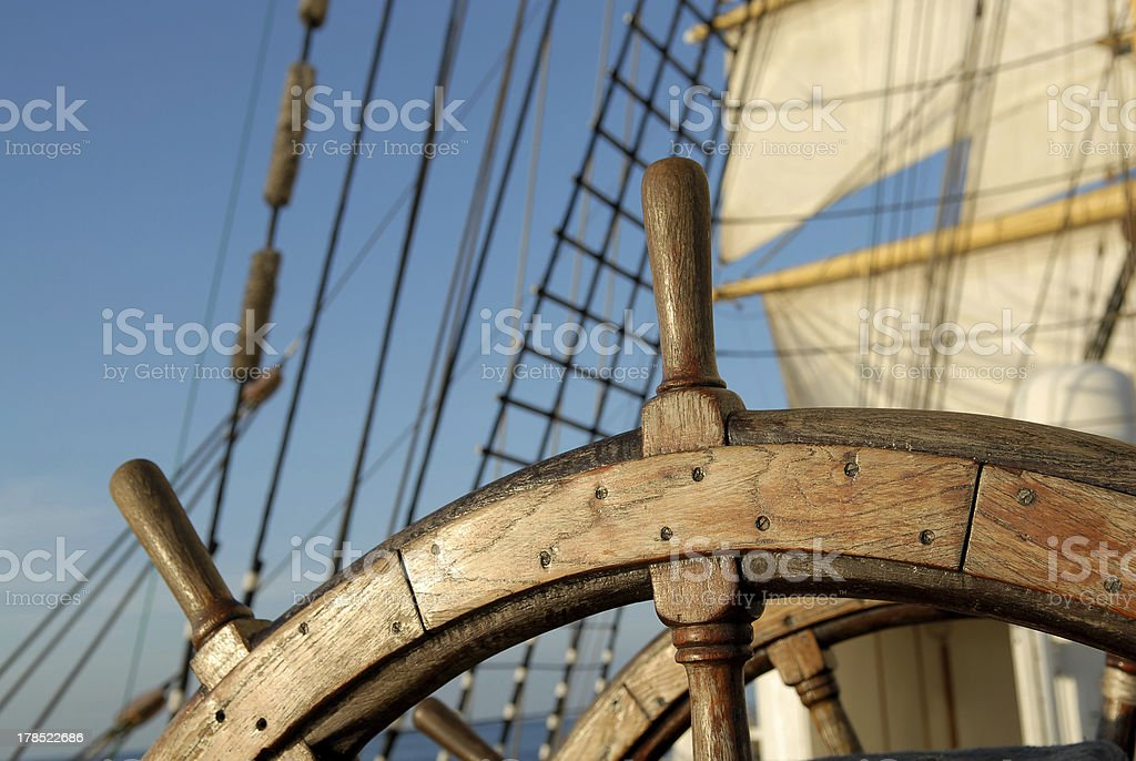 old sailing ship wheel stock photo