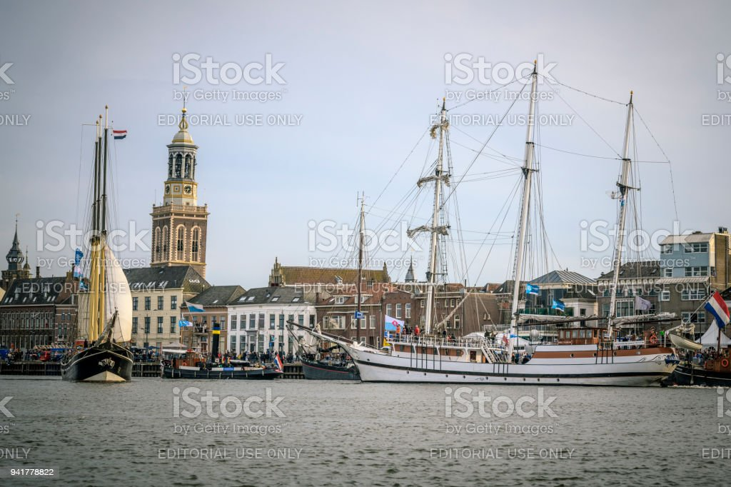 old sailing ships at the river ijssel during the 2018 sail kampen