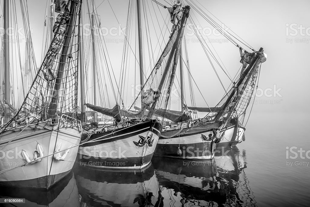 Old sailing ships moored at the IJssel quay in Kampen stock photo