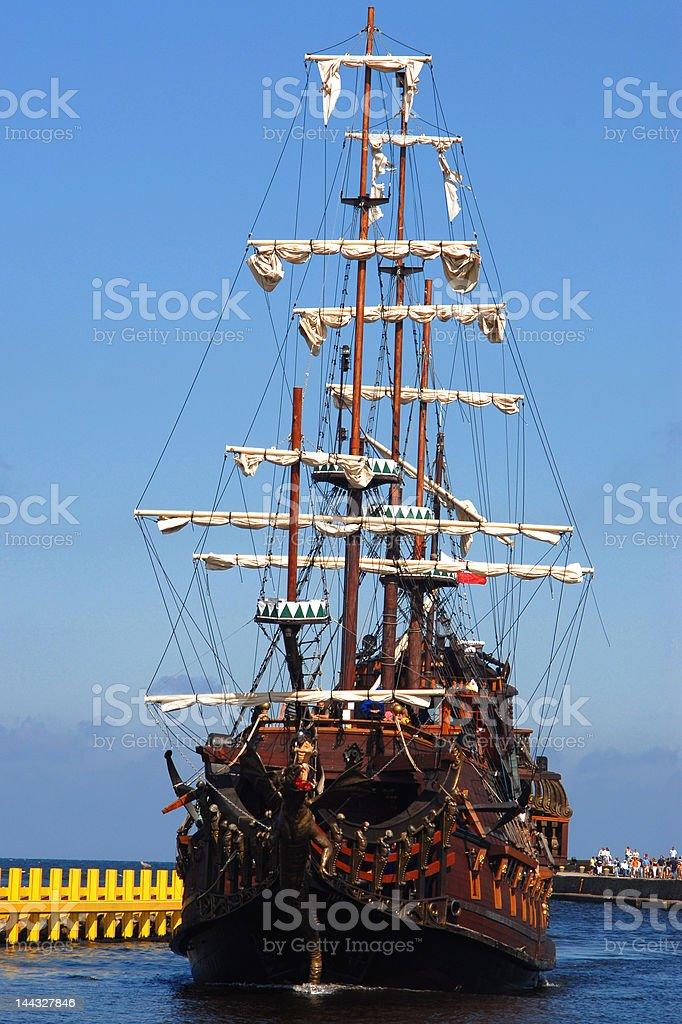 Old sailing-ship stock photo