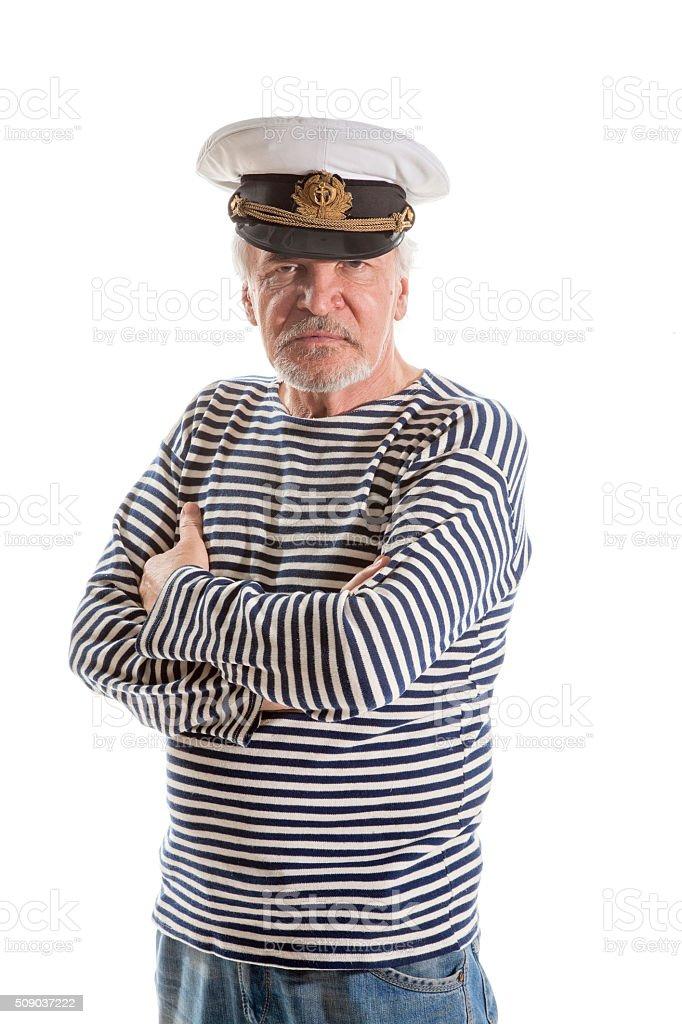 Old sailor man stock photo