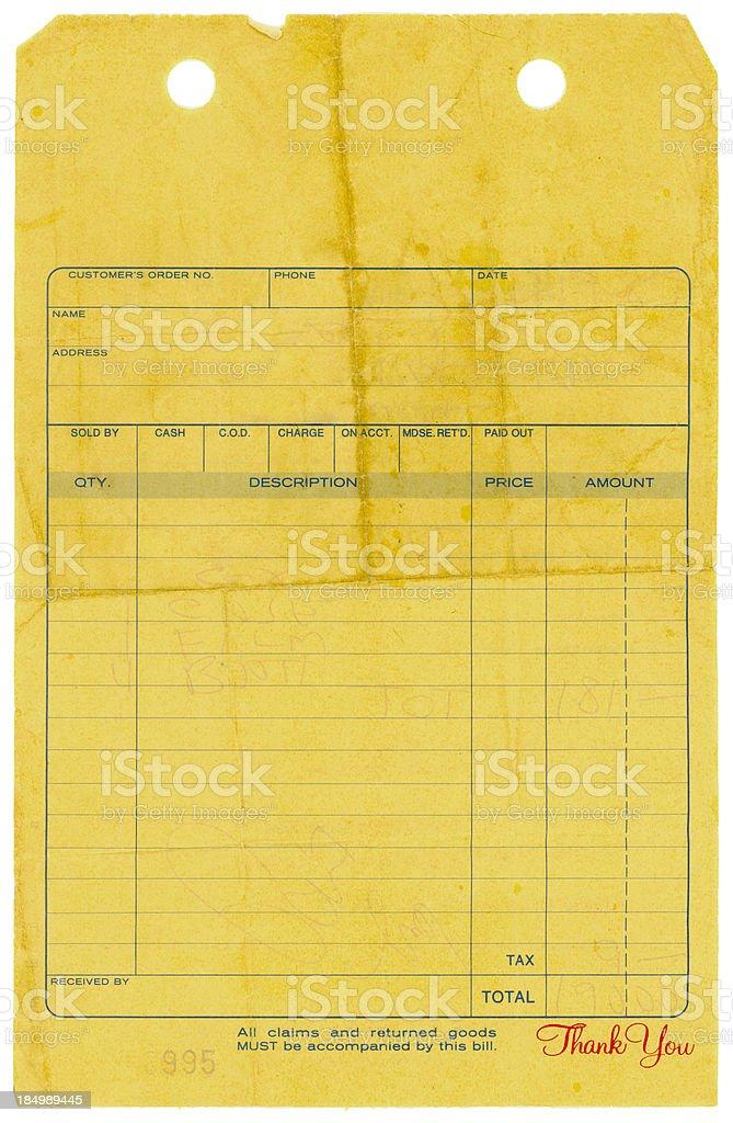 Old Sales Slip stock photo