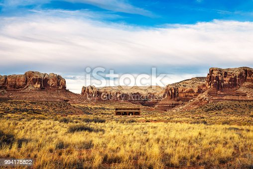 Old saloon in a typical southwestern landscape near the village of Bluff, Utah
