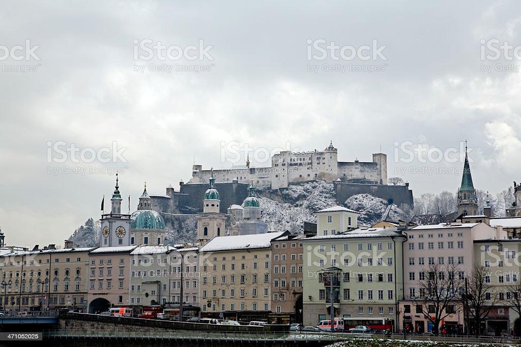 Old Salzburg and the Hohensalzburg royalty-free stock photo