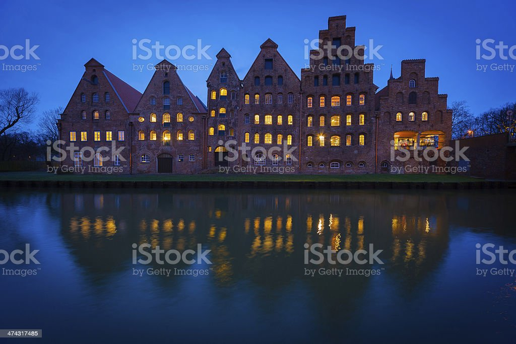 Old Salzspeicher warehouses in Lubeck Germany at night stock photo