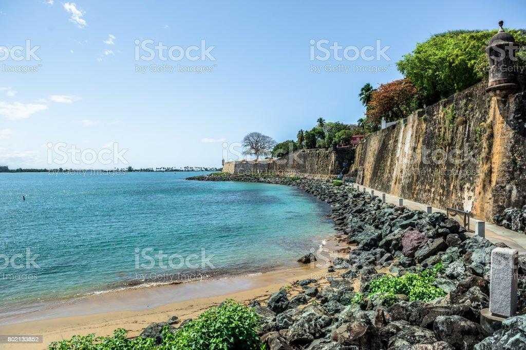 Old San Juan City Wall stock photo