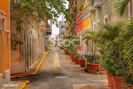 a street alley in Old San Juan, Puerto Rico