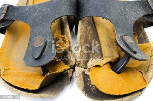 istock Old Sandals over white 496831263