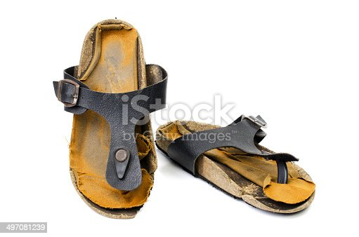 istock Old Sandals over white 497081239