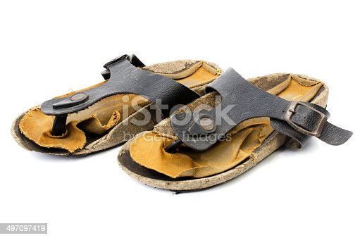 istock Old Sandals over white 497097419