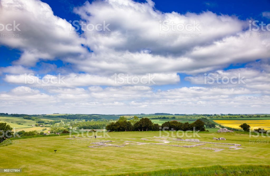 Old Sarum Cathedral remains Salisbury Wiltshire South West England UK stock photo
