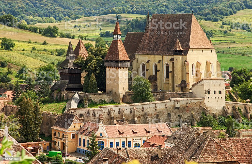 Old saxon fortified church stock photo