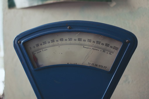 Old scales in Pripyat city, Chernobyl Exclusion Zone, Ukraine.Close-up