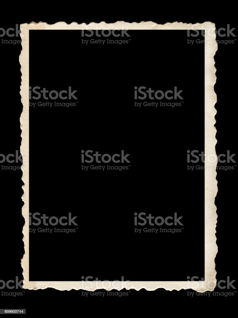 Old Scalloped Photo Frame Isolated on Black stock photo