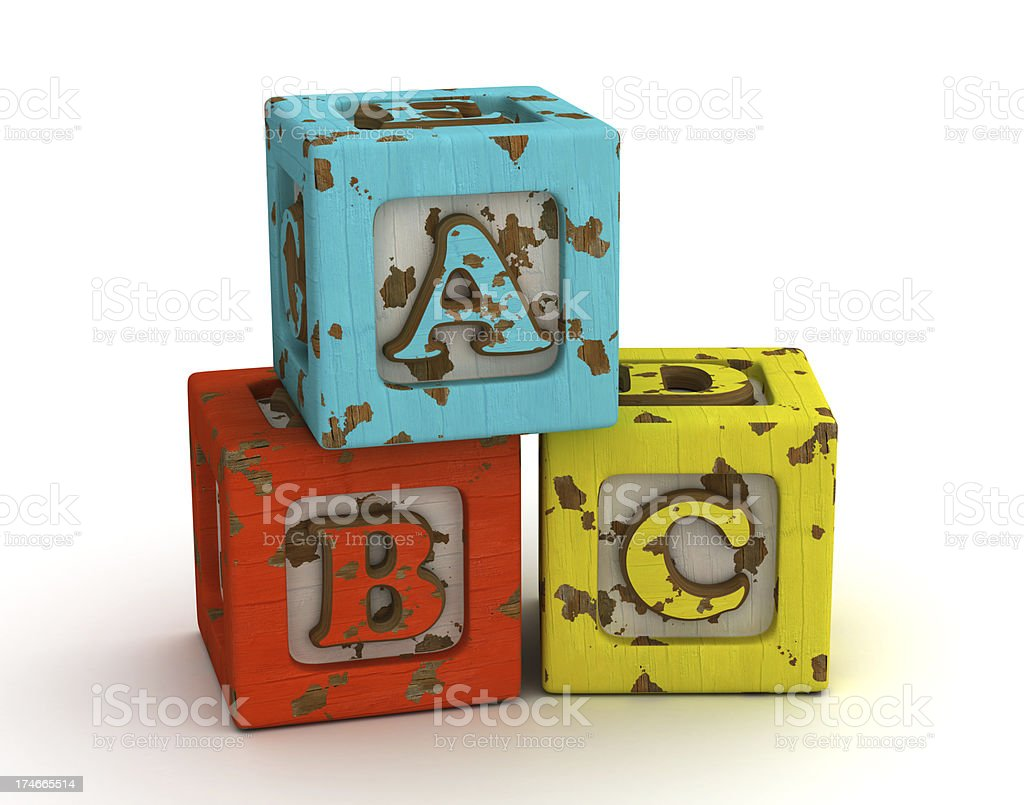 old school alphabet blocks royalty-free stock photo