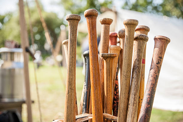 old school baseball - baseball bat stock photos and pictures