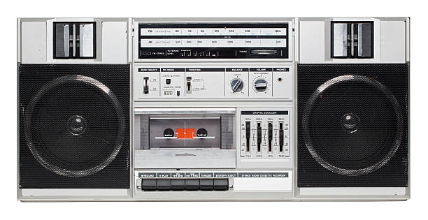 Old School boombox isolated on white stock photo