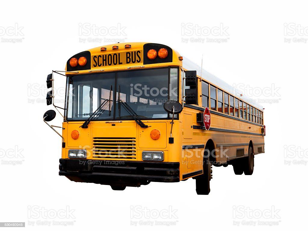 Old School bus isolated with clipping path stock photo