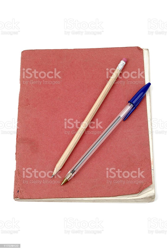 Old School Exercise Book With Pen And Pencil royalty-free stock photo