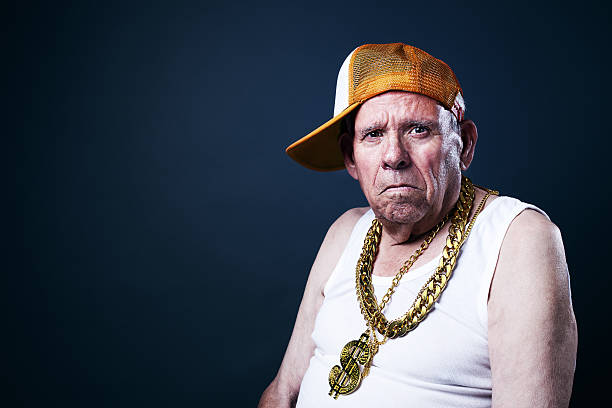 Old School grandfather Grandfather with a cap and golden chains fine art portrait stock pictures, royalty-free photos & images
