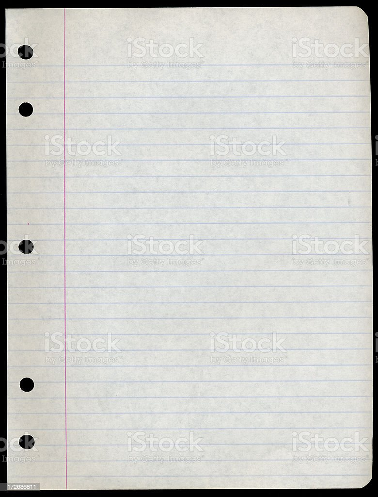 Old school notebook paper royalty-free stock photo
