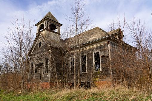 Old abandoned schoolhouse in rural Illinois.  Elmira, Illinois, USA