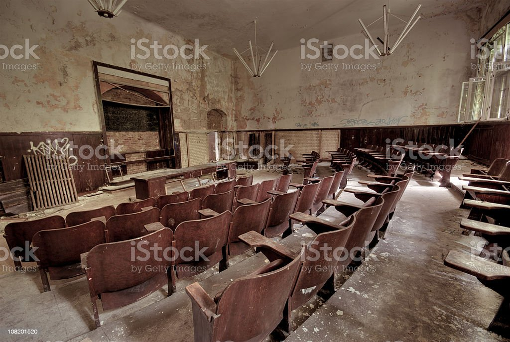 Old schoolroom stock photo
