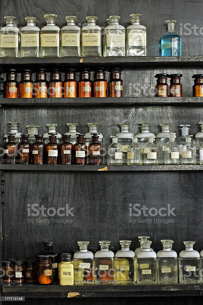 old science laboratory cupboard royalty-free stock photo