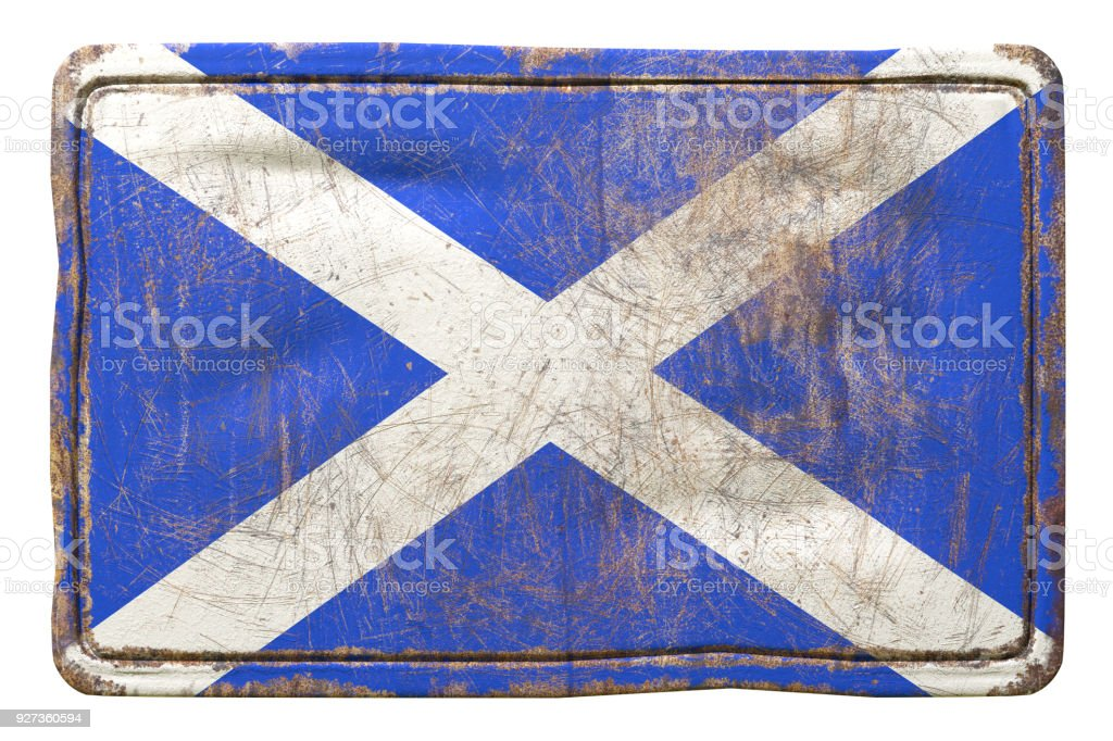 Old Scotland flag 3d rendering of a Scotland flag over a rusty metallic plate. Isolated on white background. Brass Stock Photo
