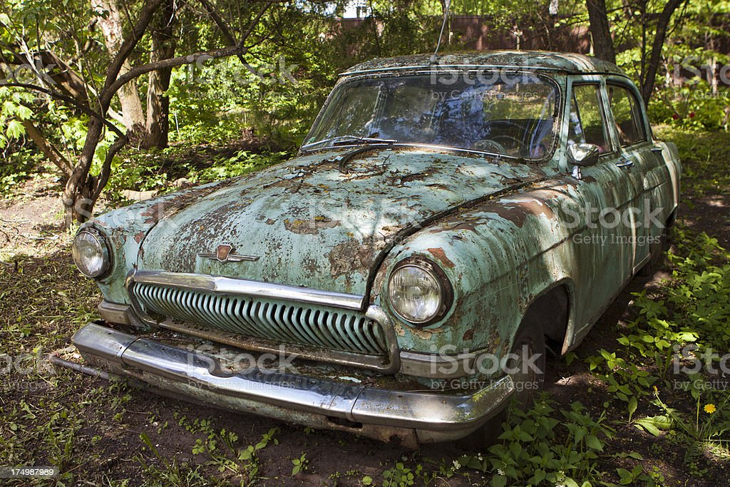 old scrapped car royalty-free stock photo