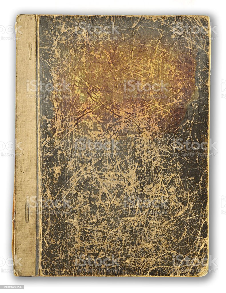 old, scratched cover book stock photo