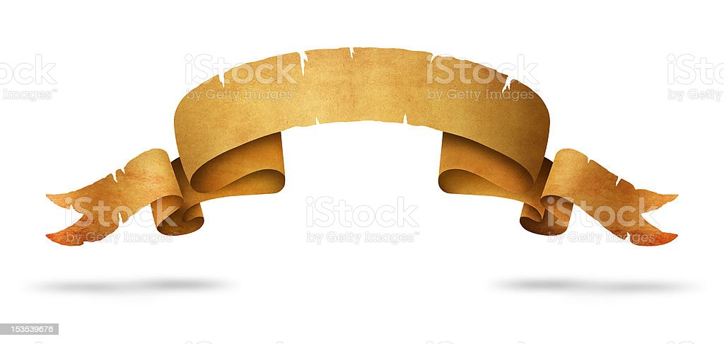 Old Scroll isolated on white stock photo