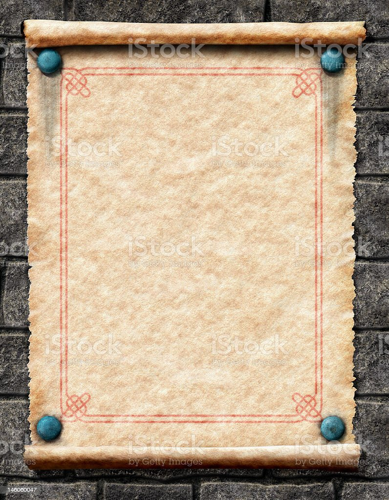 Old Scroll on Stone Wall royalty-free stock photo