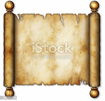istock Old Scroll on Wooden Spindles 139264226
