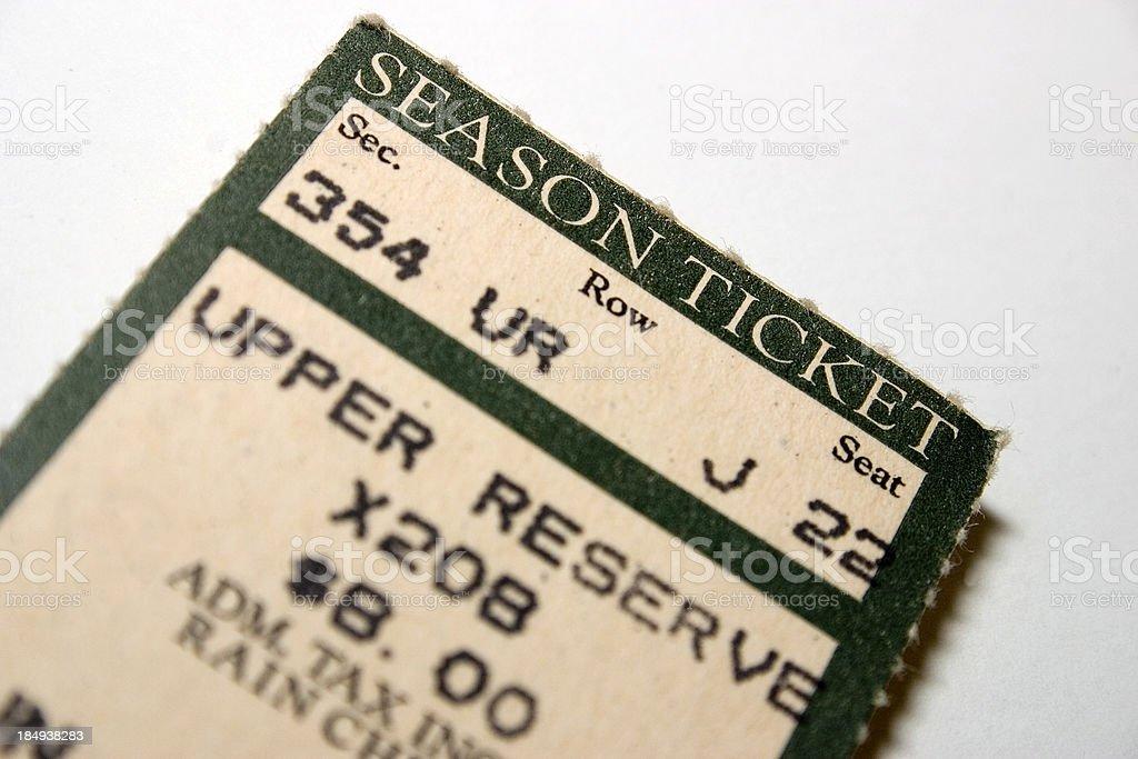 Old season ticket stock photo