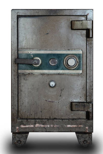 Old security safe box stock photo