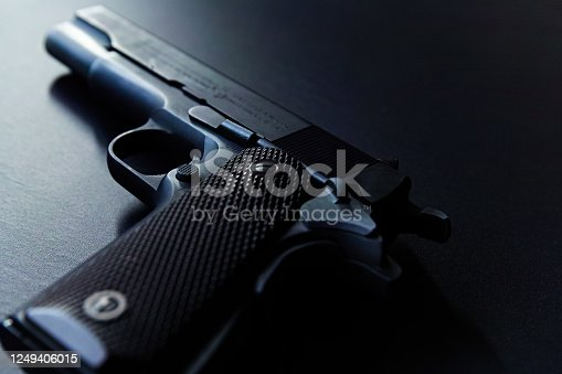 Close up of old semi auto pistol
