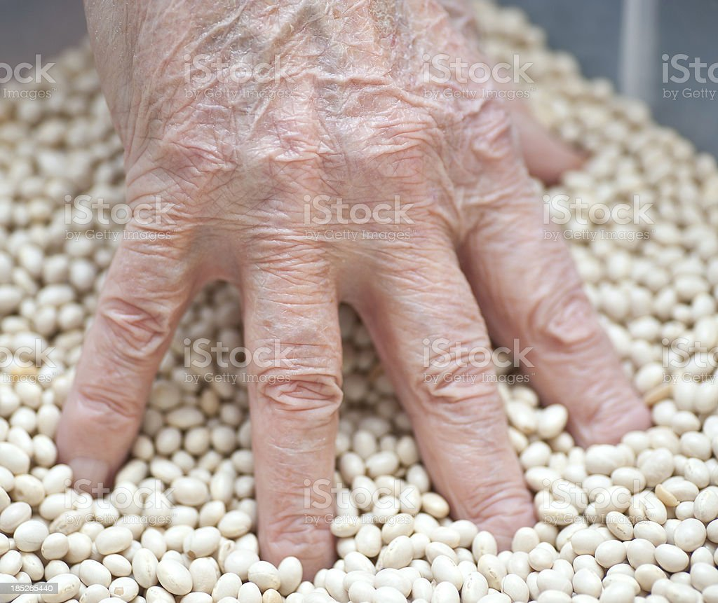 old senior hand in beas royalty-free stock photo